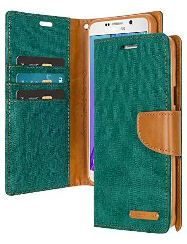 Galaxy J7 Wallet Case with Free 4 Gifts [Shockproof] GOOSPERY Canvas Diary Ver.Magnetic [Denim Material] Card Holder with Kickstand Flip Cover for Samsung GalaxyJ7 - Green, ()
