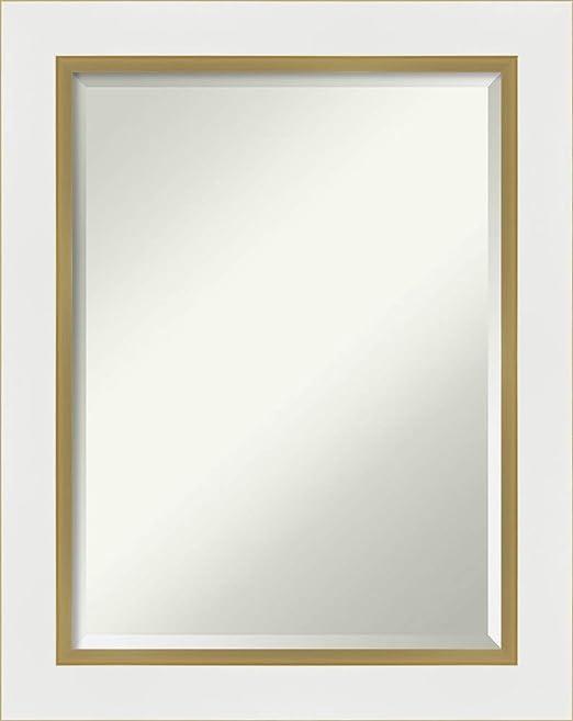 Amazon Com Amanti Art Framed Vanity Mirror Bathroom Mirrors For Wall Eva White Gold Mirror Wall Mounted Mirror Medium Mirror 29 25 X 23 25 In Home Kitchen
