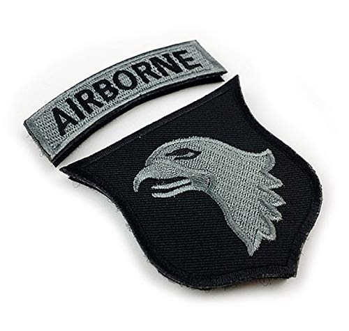 Morton Home 101st Airborne Patch Screaming Eagles Embroidered Applique Badge Sign Costume Paratrooper Shoulder Patch Hook&Loop Fastener Backing Patch (Airborne-Black+greySilver)