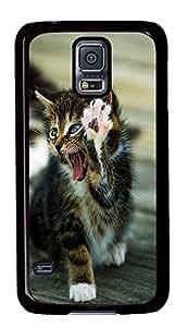 Fashion Case for Samsung Galaxy S5,Black Plastic Case Shell for Samsung Galaxy S5 i9600 with Cute Cat