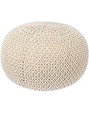 LIVINGbasics Knit Modern Floor Pouf Round Footstool, Round Pouf Ottoman, Pouffe Seat