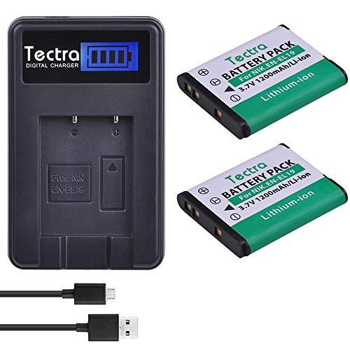 Tectra 2Pcs 1200mAh EN-EL19 EN EL19 ENEL19 Battery + LCD USB Charger for Nikon Coolpix S32 S33 S100 S2500 S2750 S3100 S3200 S3300 S3400 S3500 S4100