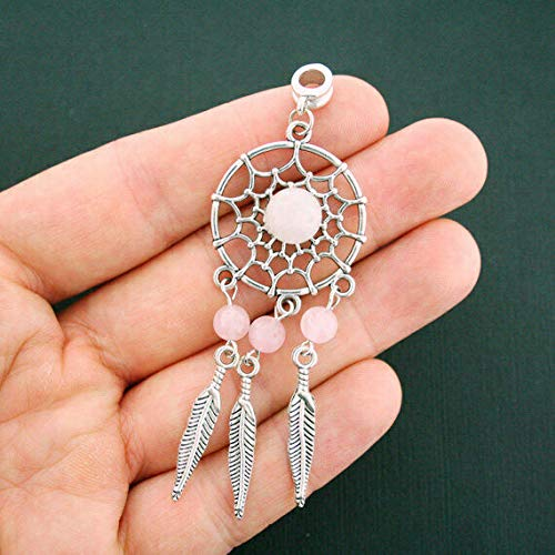 (1 Dream Catcher Charm Antique Silver Tone Pink Beads Feather Dangle, Beading, Jewelry Making, DIY Crafting, Arts & Sewing by Perfect Beads Store)