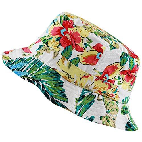 Floral Print Hawaiian Flower Beach Bucket Hat (S/M, Green)