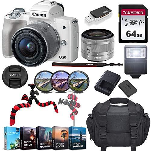 Canon EOS M50 Mirrorless Digital Camera w/EF-M 15-45mm f/3.5-6.3 is STM Lens & 64GB SD Card Bundle (White)