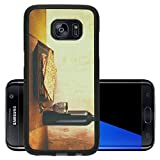 Luxlady Premium Samsung Galaxy S7 Edge Aluminum Backplate Bumper Snap Case IMAGE 36536117 Passover background wine and matzoh jewish passover bread over wooden