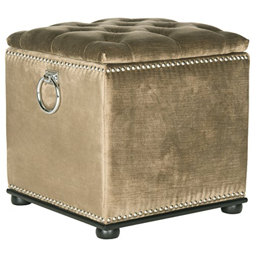 Safavieh Mercer Collection Arturo Storage Ottoman, Golden Olive and Black