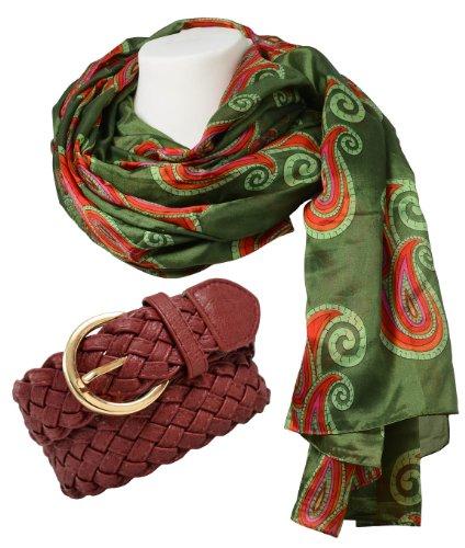 Ensemble foulard damenschal modèle wIEN écharpe en vert avec imprimé design flechtgürtel bordeaux