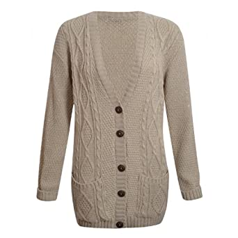 Womens Plus Size Chunky Cable Knitted Button Ladies Grandad Long ...