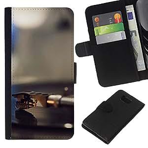 KLONGSHOP // Tirón de la caja Cartera de cuero con ranuras para tarjetas - Vinilo jugador Aguja - Samsung ALPHA G850 //