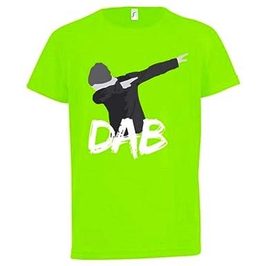2468a88285a90 NPZ Maillot - Tee Shirt Dab Enfant Anti-Transpirant Vert Fluo Taille de 7 à  13 Ans - 12 13 Ans