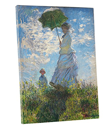 (Niwo Art (TM) - The Stroll,Woman with a Parasol, by Claude Monet - Oil painting Reproductions - Giclee Canvas Prints Wall Art for Home Decor, Stretched and Framed Ready to Hang )