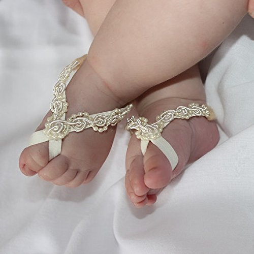 ace86cd2015c Amazon.com  Handmade Beige Baby Barefoot Sandals by ALLBABYGIRLS ...