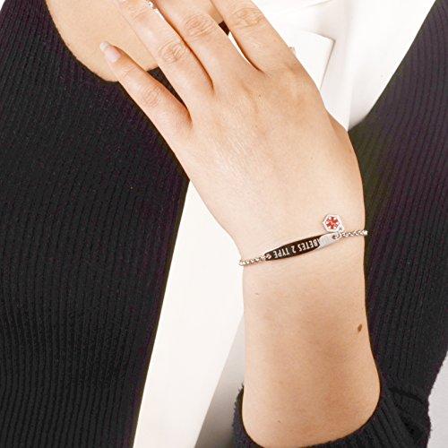 linnalove-Pre-Engraved Diabetes Type 2 Gold Simple Rolo Chain Medical Bracelet for Women & Girl by linnalove (Image #1)