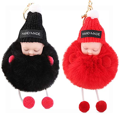 - I-BOSOM 2PCS Cute Doll Keychain Pom Pom Car Keyring Holder Car Charm Pendant Bag Charm Key Chain (05 Black With Red/Red)