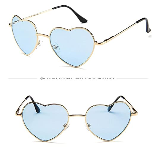 8c4c9ad861 Women s Retro Cat Eye Colorful Transparent Heart Shape Shades Frame UV  Protection Polarized Sunglasses (A