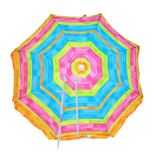(Deluxe 6 ft Rio Beach Umbrella Sunshade UPF 100+ w Integrated Anchor)