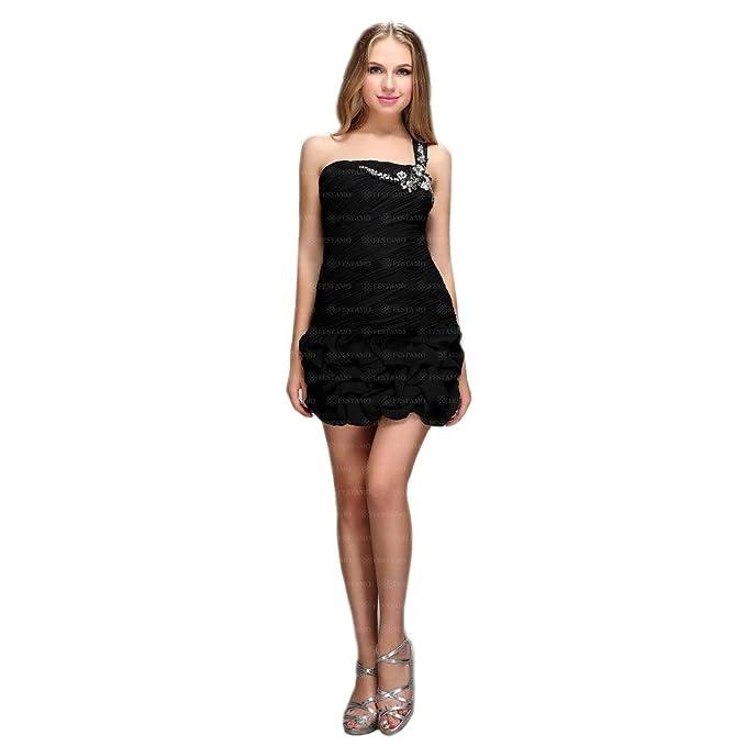 df1bb08aeb2 Damen Kleid Festamo Cocktailkleid Abendkleid Ballkleid Abikleid Partykleid  Festliche Kleider Minikleid Schwarz 42  Amazon.de  Bekleidung