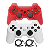 Bowink 2 Packs Wireless Bluetooth Controllers For PS3 Double Shock (Red and White)