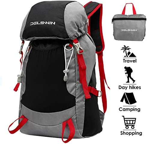 DELSWIN Lightweight Packable Backpack Water Resistant Hiking Daypack – Foldable Camping Outdoor Bag