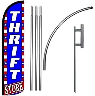 Amazon com : Custom 15ft Thrift Store Feather Banner Flag Set