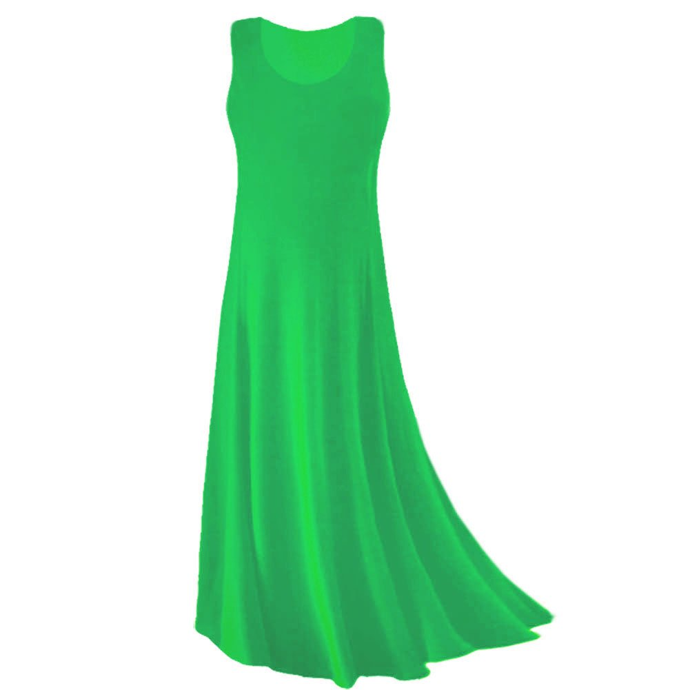 Plus Size Tank Maxi Dress Grass Green Princess Cut Supersize Slinky