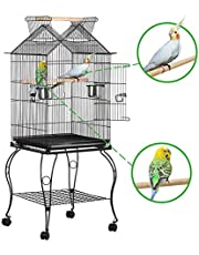 Yaheetech Gabbia Voliera per Uccelli Pappagalli in Metallo e Legno con Piedistallo Carrello Nera 59 x 59 x 145 cm