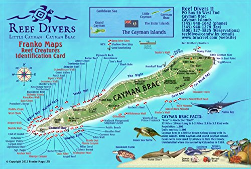 Cayman Brac Island Dive Map & Reef Creatures Guide Laminated Fish Card