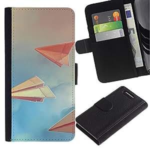 KingStore / Leather Etui en cuir / Sony Xperia Z1 Compact D5503 / Art Paper Planes nubla el cielo Libro Azul