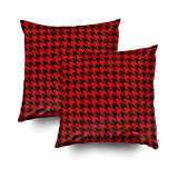 Musesh Pack of 2 red and black houndstooth pattern outdoor pouf Cushions Case Throw Pillow Cover For Sofa Home Decorative Pillowslip Gift Ideas Household Pillowcase Zippered Pillow Covers 20X20Inch