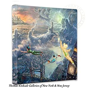 Thomas Kinkade Tinker Bell and Peter Pan Fly to Neverland 14 x 14 Gallery Wrapped Canvas