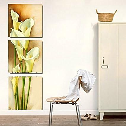 Preferred Amazon.com: Amoy Art -3 Piece Yellow Calla Lily Flowers Modern  ZL86