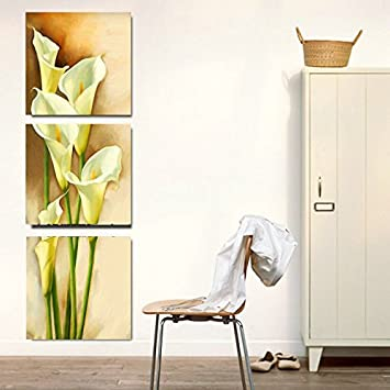 Amoy art 3 piece yellow calla lily flowers modern painting prints on canvas wall art
