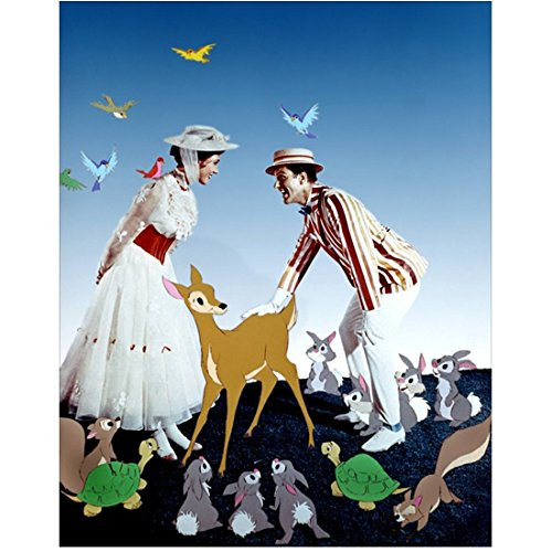 Mary Poppins Julie Andrews as Mary Poppins and Dick Van Dyke as Bert with woodland animals8 x 10 Inch Photo