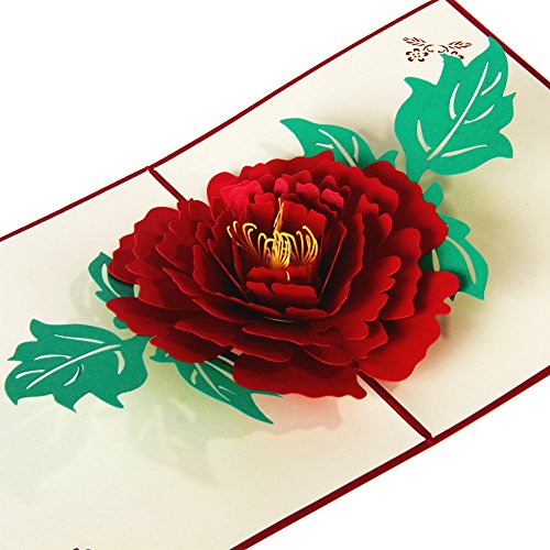 Peony Flower 3D Pop Up Greeting Cards Anniversary Baby Birthday Easter Halloween Children's Mother's Father's Day Home New Year Thanksgiving Christmas Valentine Wedding Invitation for $<!--$6.99-->