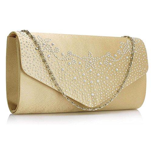 Clutch Ladies Xardi Bags Diamante Satin Nude Wedding Envelope Womens London Evening Sequin Bridal ZZ4OY