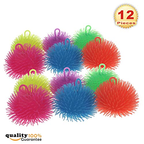 PMLAND Squeeze Soft Puffer Balls Assorted Colors Party Toy Favor Gifts Bag Filler Set of 12
