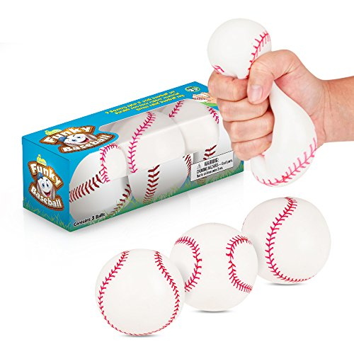 Squish 'N' Stick Lumpy Baseballs | 3 Pack | Pull & Stretch Squishy, Hard Moldable Balls for Stress, Tension, or Anxiety Release - Great Toy for Those with Autism or ADHD - Fun Gift ()