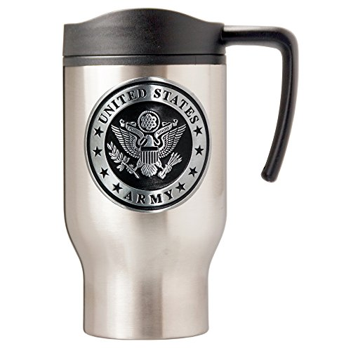 Army Seal Travel Mug, 16-Ounce, Silver (Mug Army Travel)