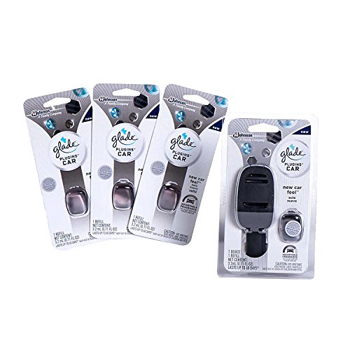 Glade PlugIns Car Air Freshener Pack, 1 Warmer + 4 New Car Refill, 0.44 oz