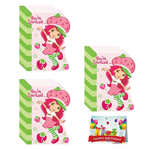 Strawberry Shortcake Party Invitations (Strawberry Shortcake Birthday Party Invitations Bundle Pack of 24)