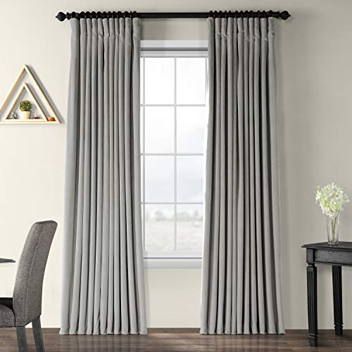 Half Price Drapes VPCH-VET1213-96 Signature Doublewide Blackout Velvet Curtain, Silver Grey, 100 X 96 (Grey Curtains Silver)