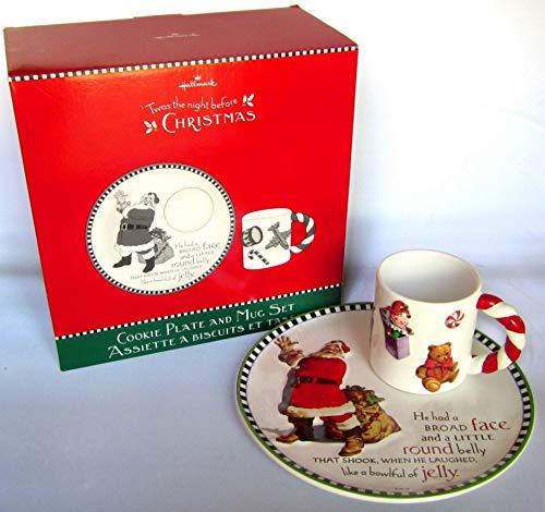 Hallmark Santa Claus Cookie Plate & Mug Set 'twas The Night Before Christmas