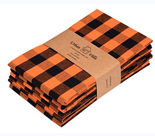 Halloween Dish Towels (Urban Villa Kitchen Towels, Halloween Special Premium Quality, 100% Cotton Dish Towels,Mitered Corners,Ultra Soft (Size: 20X30 Inch),Orange/Black,Highly Absorbent Bar Towels & Tea Towels - (Set of)