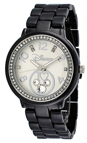 - Disney MCAQ1364 Women's Black Ion Plated Metal Band Crystallized Mickey Mouse Watch