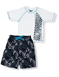 Big Chill Little Boys Camo Trucks 2 Piece Rash Guard Swim Trunk Set UPF 50, Grey, 4