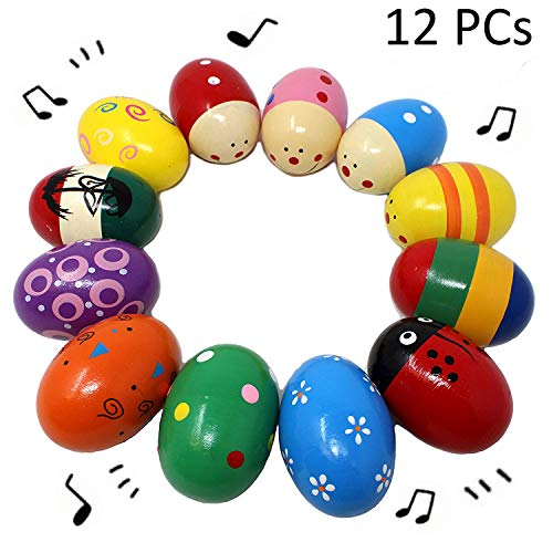 JOYIN 12 Pieces 3 Wooden Egg Shakers Maracas Percussion Musical for Party Favors, Classroom Prize Supplies, Musical Instrument, Basket Stuffers Fillers, Easter Hunt