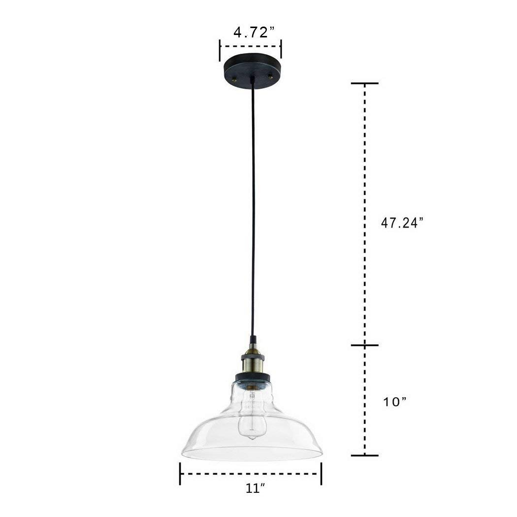 CLAXY Ecopower Industrial Edison Vintage Style 1-Light Pendant Glass Hanging Light by CLAXY (Image #6)