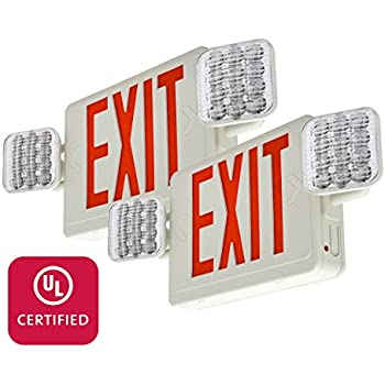 etoplighting 2 packs of led red exit sign emergency light combo with