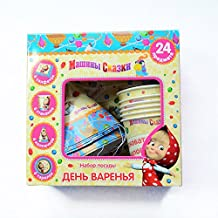 [RusToyShop] Set for Children's Holiday Masha and the Bear, Cartoon Characters, Party Ware, Hats, Pipes, Plates, Tablecloth, New Year, Christmas, Rose